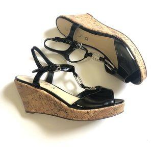 Unisa Black Chain Cork Wedge Sandals